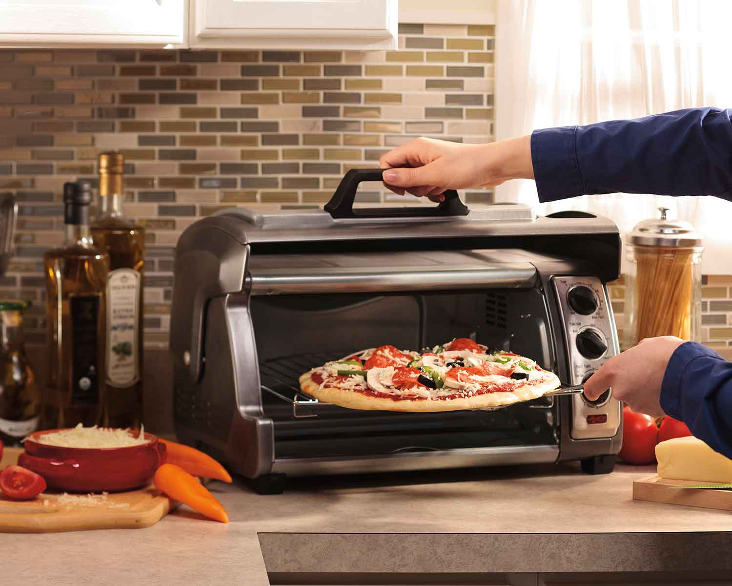 Bake pizza in toaster oven